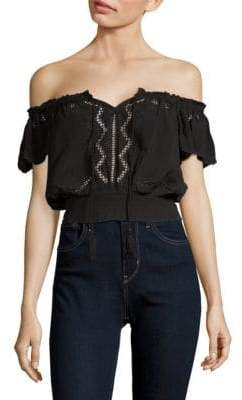 ASTR the Label Reyna Embroidered Off-the-Shoulder Top
