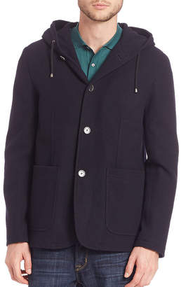 Saks Fifth Avenue Modern Hooded Wool Coat