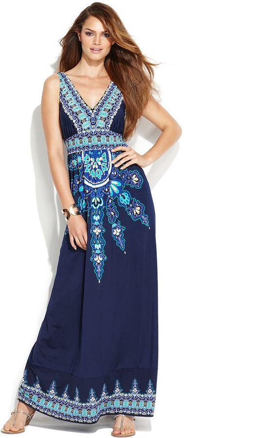 INC International Concepts Dress, Sleeveless Exotic-Print Maxi