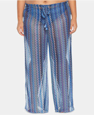 Becca Etc Plus Size Pier Side Stripe Crochet Cover-Up Pants Women Swimsuit