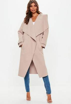 Missguided Nude Oversized Waterfall Duster Jacket