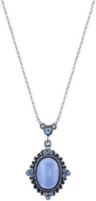 "2028 Pewter Tone Lt. Blue Moonstone Pendant Necklace 16"" Adjustable"