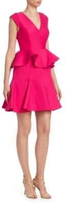 Halston Silk-Blend Ruffle Dress