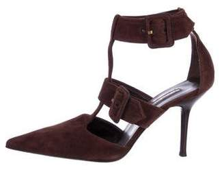 Sergio Rossi Suede Pointed-Toe T-Strap Pumps