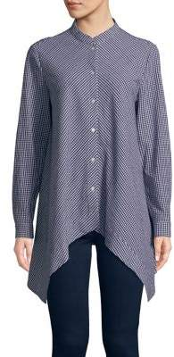 Anne Klein Gingham Handkerchief Shirt