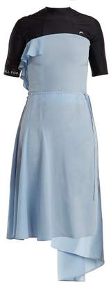 Marine Serre - Asymmetric Hem Open Back Dress - Womens - Black Blue