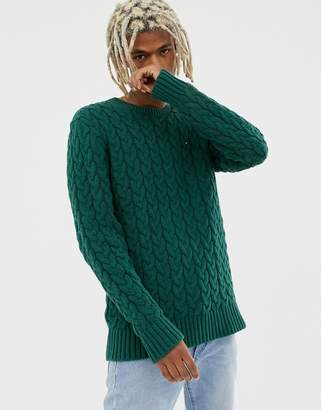 0bcb5832630 Mens Green Cable Knit Sweater - ShopStyle