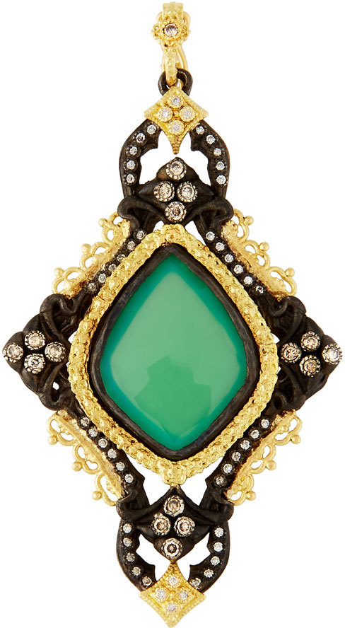 Armenta Armenta Old World Cross Enhancer w/ Chrysoprase, Quartz & Diamonds
