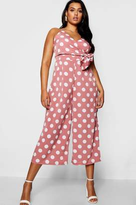 boohoo Plus Large Polka Dot Culotte Rust Jumpsuit