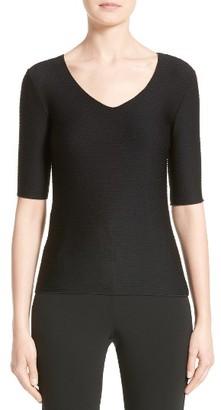 Women's Armani Collezioni Micro Jacquard Jersey Tee $345 thestylecure.com