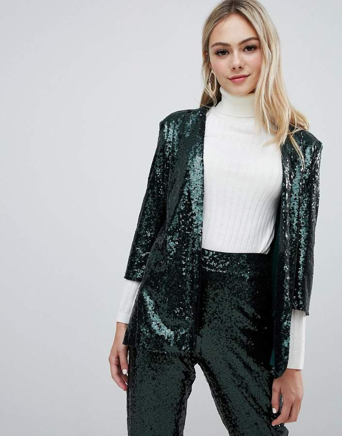 Outrageous Fortune sequin tuxedo blazer Co-ord in emerald green