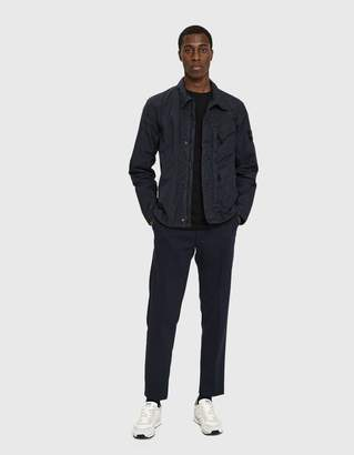 Stone Island Garment Dyed Crinkle Reps Light Overcoat in Navy Blue