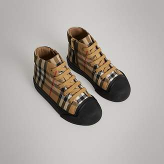 Burberry Vintage Check and Leather High-top Sneakers , Size: 30