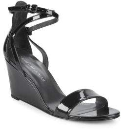 Stuart Weitzman Backdraft Patent Leather Ankle-Strap Wedge Sandals