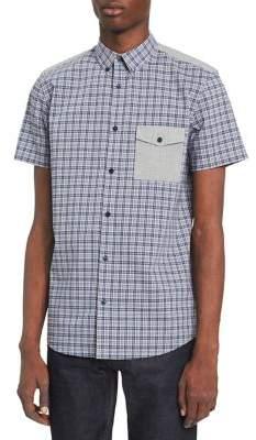 Calvin Klein Short-Sleeve Pocketed Plaid Yoke Shirt