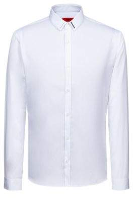 HUGO Boss Slim-fit shirt in cotton metal-trimmed collar M Open White