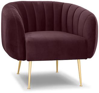 One Kings Lane Channeled Accent Chair - Plum Velvet