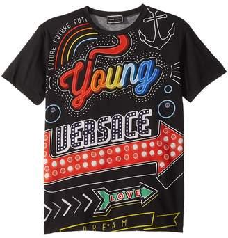 Versace Kids Short Sleeve Neon Lights Logo Graphic T-Shirt Boy's T Shirt