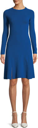 Cédric Charlier Crewneck Long-Sleeve A-Line Short Knit Dress