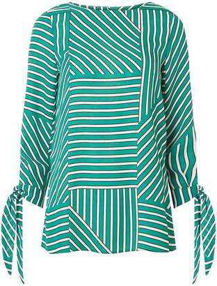 Dorothy Perkins Womens Green Geometric Stripe Tie Sleeve Top