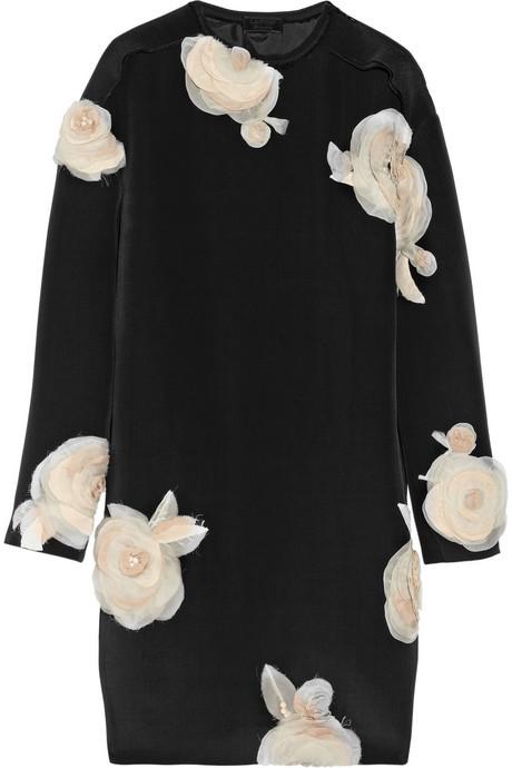 Lanvin Floral-appliquéd faille tunic dress
