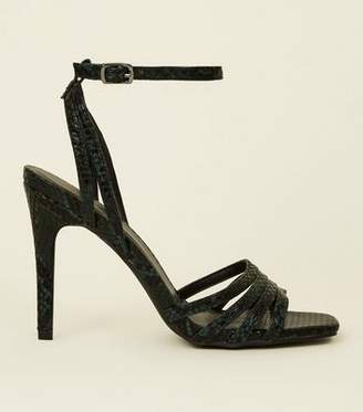 New Look Green Faux Snakeskin Strappy Stilettos