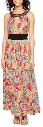 Ronni Nicole Sleeveless Embellished Paisley Maxi Dress