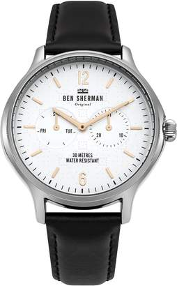Ben Sherman Men's 'Kensington Professional' Quartz Silver-Tone and Leather Casual Watch, Color Black (Model: WB017B)