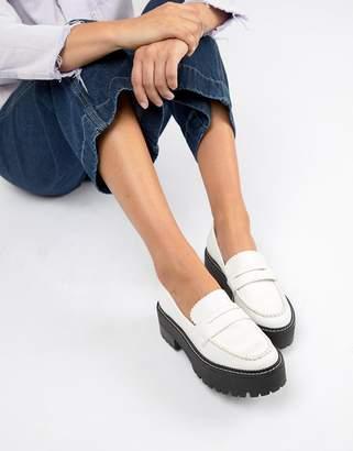 Bershka white chunky loafer