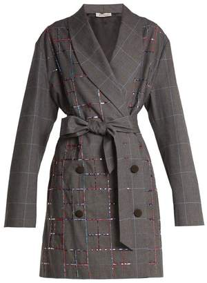 ATTICO Violet Double Breasted Checked Cotton Jacket - Womens - Grey Multi