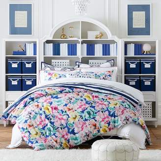 Pottery Barn Teen Watercolor Blooms Reversible Duvet Cover, Full/Queen, Bright Blue