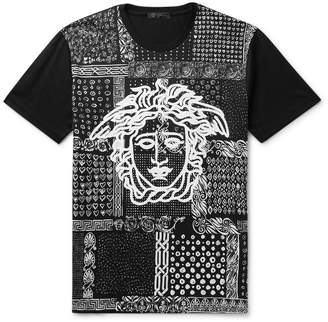 Versace Slim-Fit Printed Cotton-Jersey T-Shirt - Men - Black