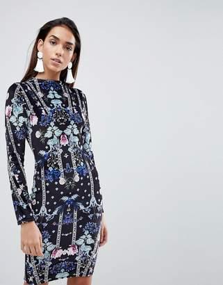 Lipsy Bodycon Dress In Velvet Print