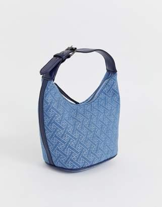 Asos Design DESIGN structured 90s denim monogram shoulder bag
