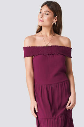 Na Kd Boho Off Shoulder Crepe Midi Dress Burgundy