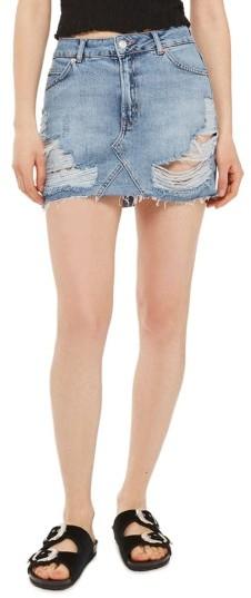 TopshopPetite Women's Topshop Rip Denim Miniskirt