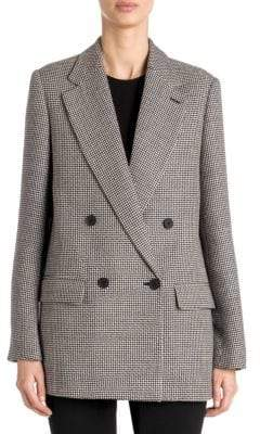 Stella McCartney Double-Breasted Wool Houndstooth Blazer