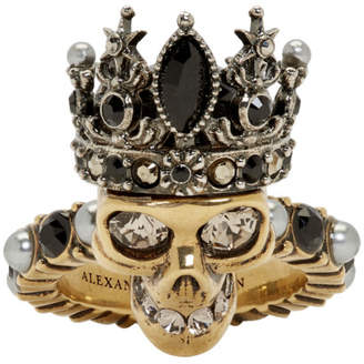 Alexander McQueen Gold Queen Skull Ring