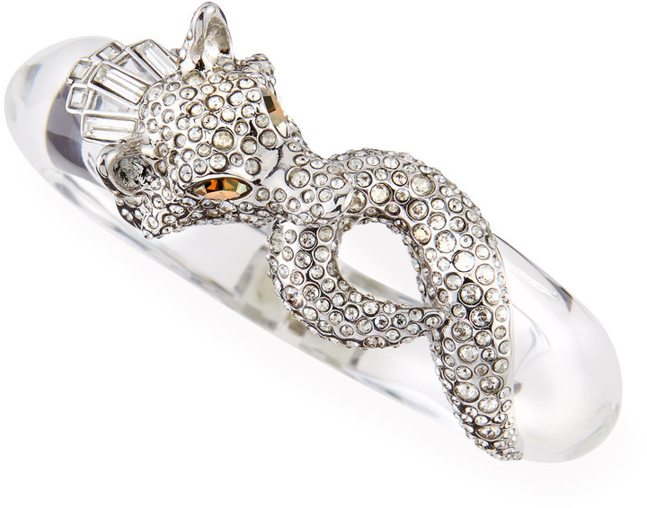Alexis Bittar Pave Wolf Lucite Bangle, Clear