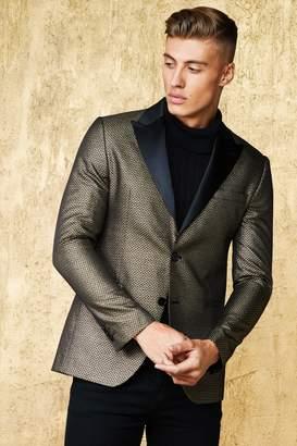 boohoo Metallic Jacquard Suit Jacket With Satin Lapel