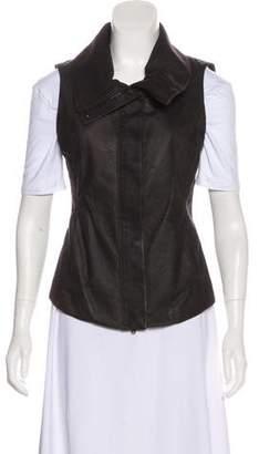 Donna Karan Zip-Up Leather Vest