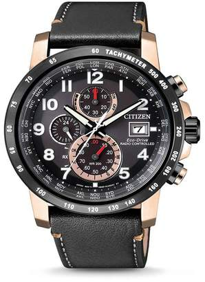 Citizen Men's Eco-Drive Global Radio Controlled Chronograph Black Leather Two-Tone Watch, 43.1mm