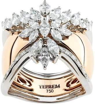 Yeprem White and Rose Gold Cluster Ring