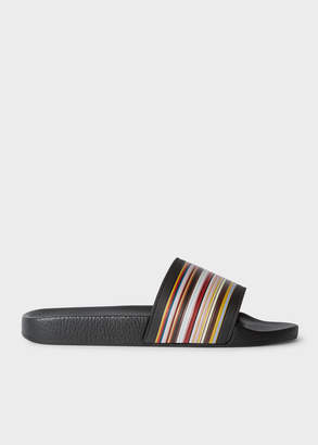 Paul Smith Men's Black 'Ruben' Slides With 'Signature Stripe' Detail
