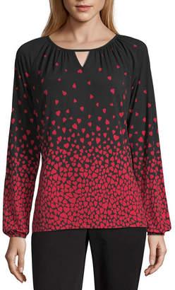 8324158815bee Liz Claiborne Womens Keyhole Neck Long Sleeve Knit Blouse