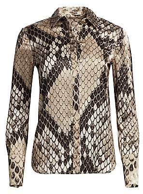 Roberto Cavalli Women's Python Print Collared Blouse