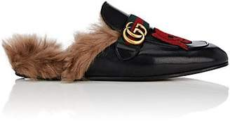 Gucci Men's New Princetown Embroidered Leather Slippers - Black