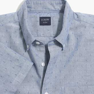 J.Crew Factory Short-sleeve flex oxford cotton shirt in dobby