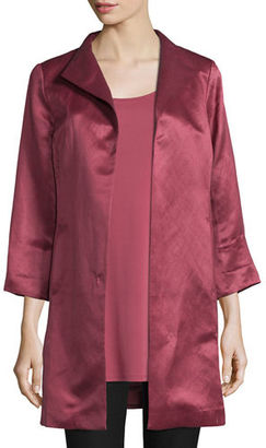 Eileen Fisher High-Collar Satin Coat, Rosewood $398 thestylecure.com