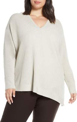 Eileen Fisher V-Neck Asymmetrical Boxy Wool Sweater